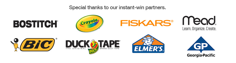 Special thanks to our instant win sponsers