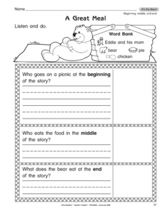 Printables Beginning Middle And End Worksheets results for beginning middle end kindergarten guest the mailbox reading worksheet its bear