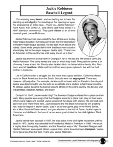 jackie robinson worksheets Success