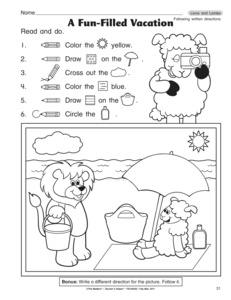 Printables Following Directions Worksheets results for following directions worksheet guest the mailbox