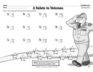 Printables Veterans Day Worksheets results for veterans day guest the mailbox worksheet multiplication