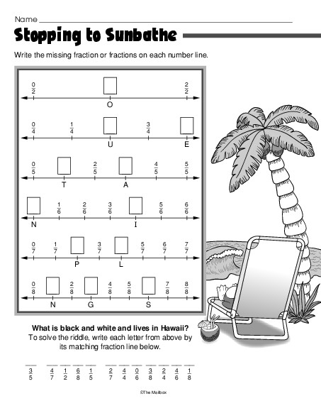 math worksheet : stopping to sunbathe lesson plans  the mailbox : Number Line Fractions Worksheet