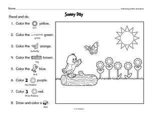 search following directions  the mailbox literacy worksheet following written