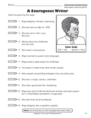 Black History Month Worksheet : facts and opinions about Maya Angelou