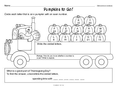 Thanksgiving Worksheet Odd And Even Numbers