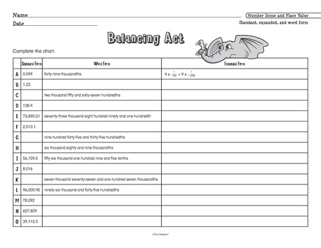 math worksheet : balancing act lesson plans  the mailbox : Word Form Math Worksheets