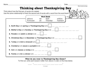 Thanksgiving Worksheet Word Relationships