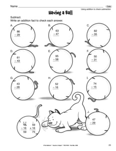 checking subtraction with addition worksheet  kidz activities subtraction worksheet with check addition  mattawa