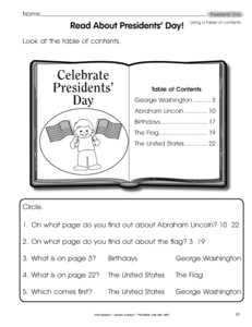 1st grade Reading Worksheets: Table of contents and index ...
