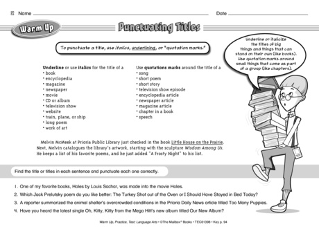 Punctuating Titles, Lesson Plans - The Mailbox