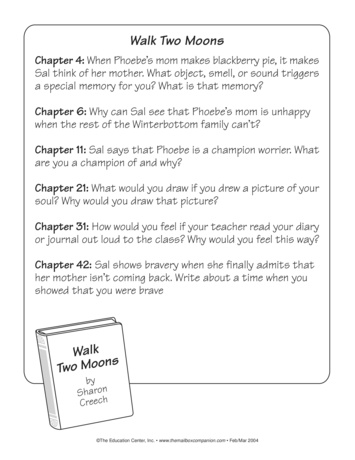 walk two moons worksheets com walk two moons journal prompts lesson plans the mailbox
