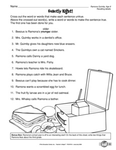 Worksheet Ramona Quimby Age 8 Worksheets results for worksheets 3 rl 2 1 guest the mailbox literature worksheet recalling details ramona quimby age 8