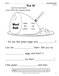 Reading Worksheet Green Eggs And