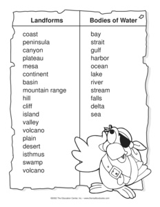 Worksheets Landforms And Bodies Of Water Worksheets bodies of water quotes like success landforms and worksheets