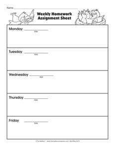 Homework assignment sheets