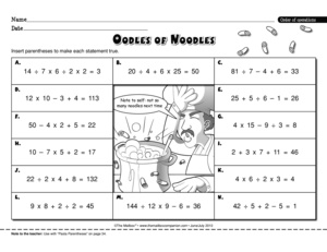 Math Worksheet Order Of Operations 5 Oa