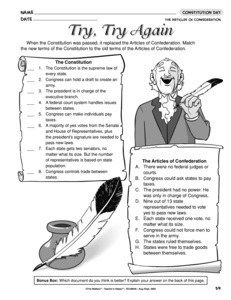 excerpts from the articles of confederation worksheet